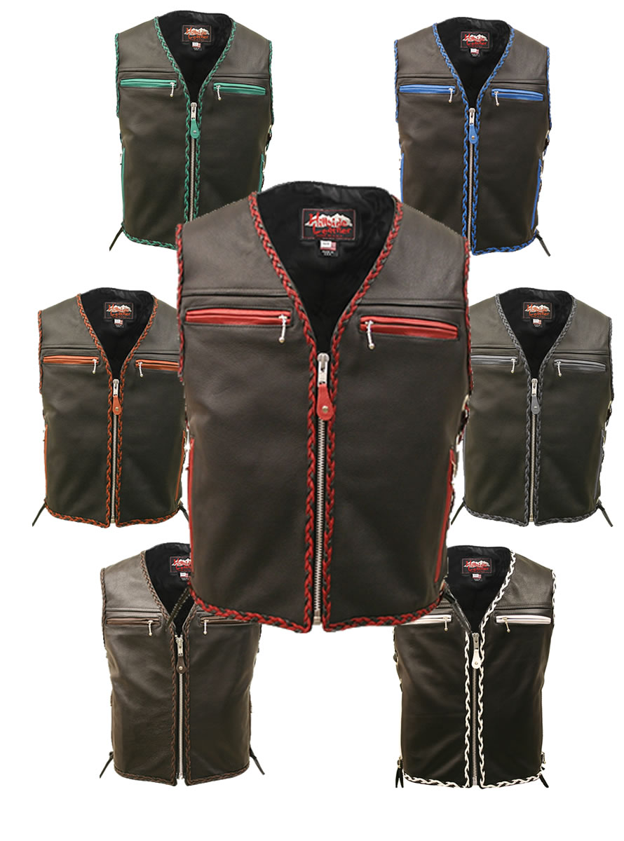 The-Elite-Motorcycle-Leather-Vest-Braided-all-colors-available